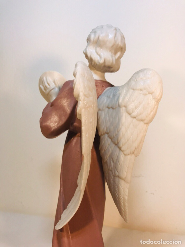 Antigüedades: Figura Porcelana-España- Algora - Angel músico Platillos- 23 cm - Foto 13 - 177775033