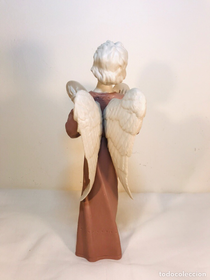 Antigüedades: Figura Porcelana-España- Algora - Angel músico Platillos- 23 cm - Foto 14 - 177775033