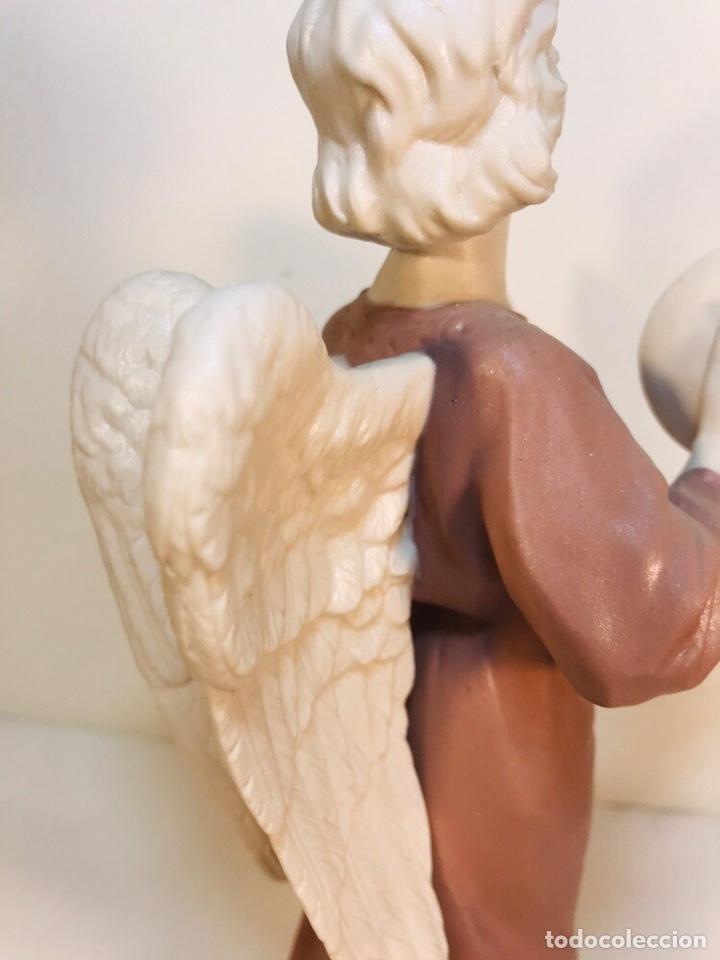 Antigüedades: Figura Porcelana-España- Algora - Angel músico Platillos- 23 cm - Foto 16 - 177775033