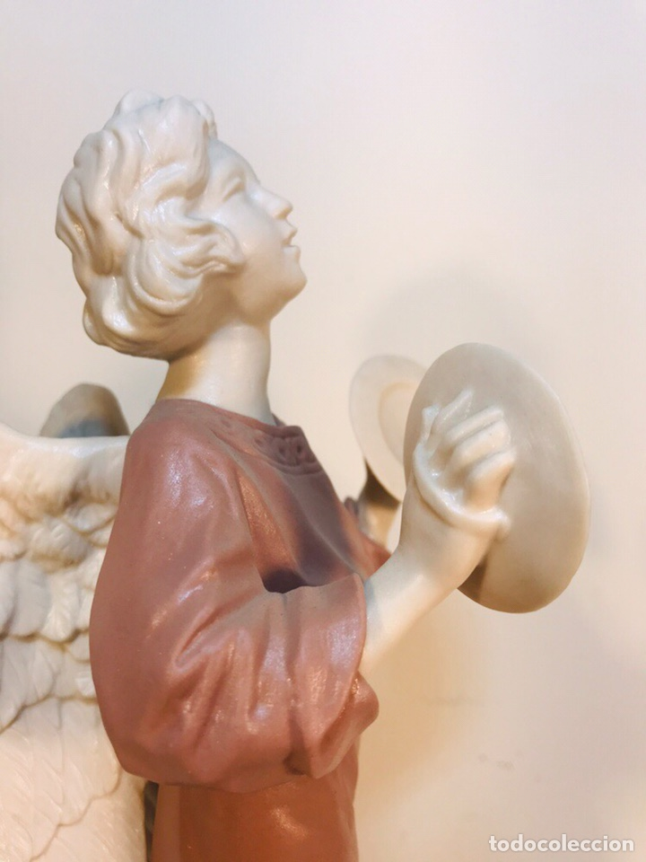 Antigüedades: Figura Porcelana-España- Algora - Angel músico Platillos- 23 cm - Foto 20 - 177775033
