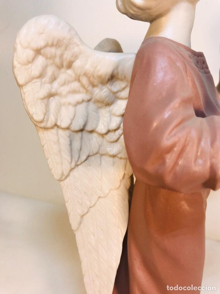 Antigüedades: Figura Porcelana-España- Algora - Angel músico Platillos- 23 cm - Foto 21 - 177775033