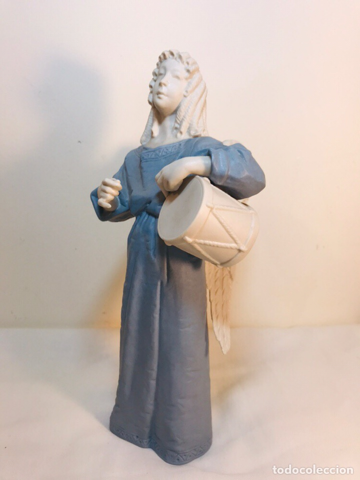Antigüedades: Figura Porcelana-España- Algora - Angel músico tambor- 23 cm - Foto 6 - 177776087