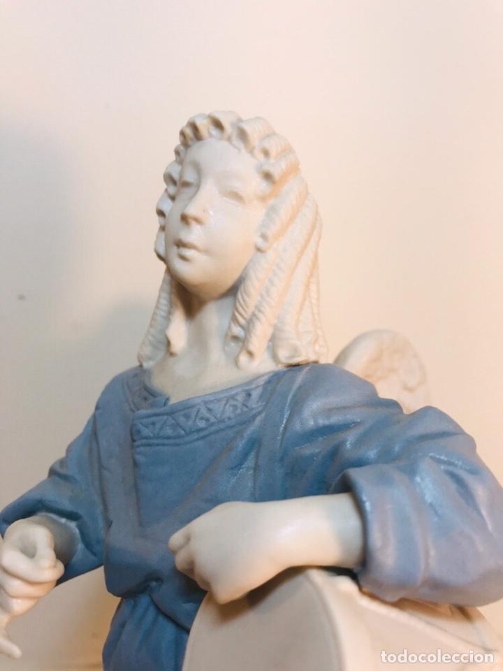 Antigüedades: Figura Porcelana-España- Algora - Angel músico tambor- 23 cm - Foto 7 - 177776087