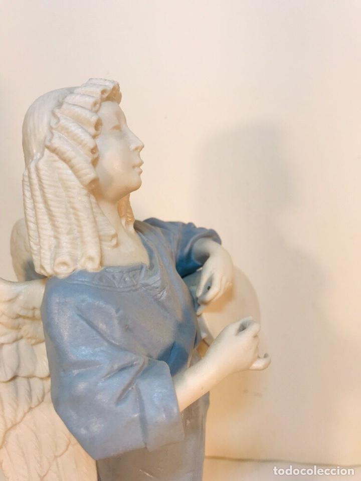 Antigüedades: Figura Porcelana-España- Algora - Angel músico tambor- 23 cm - Foto 25 - 177776087