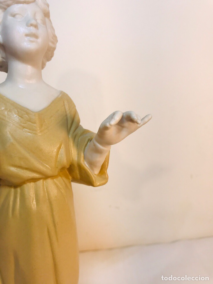 Antigüedades: Figura Porcelana-España- Algora - Angel músico director- 23 cm - Foto 4 - 177777399
