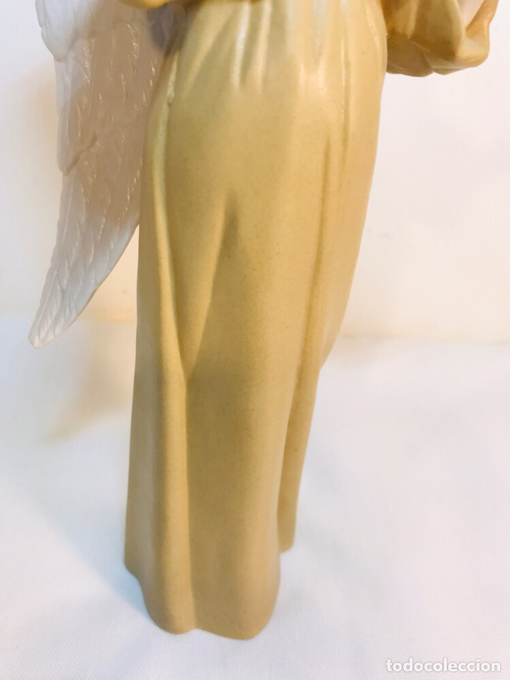 Antigüedades: Figura Porcelana-España- Algora - Angel músico director- 23 cm - Foto 5 - 177777399