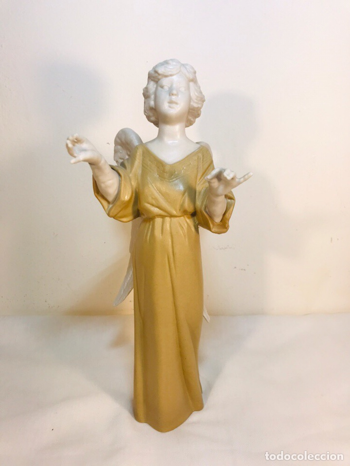 Antigüedades: Figura Porcelana-España- Algora - Angel músico director- 23 cm - Foto 6 - 177777399