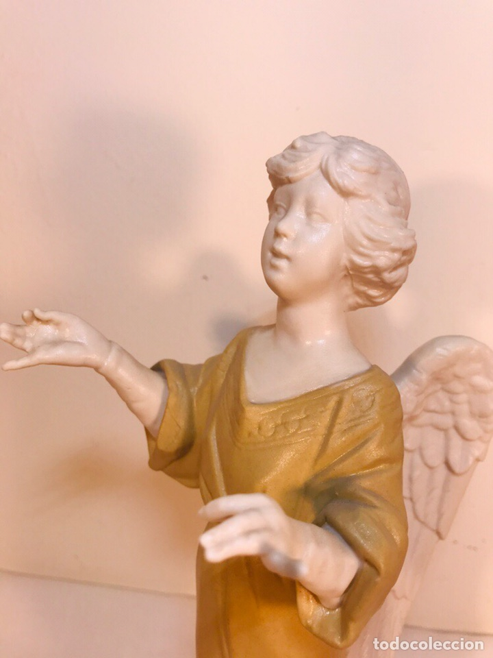 Antigüedades: Figura Porcelana-España- Algora - Angel músico director- 23 cm - Foto 10 - 177777399