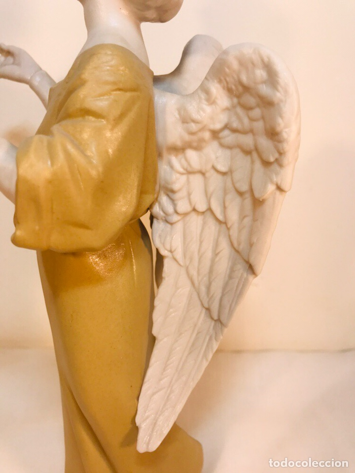 Antigüedades: Figura Porcelana-España- Algora - Angel músico director- 23 cm - Foto 15 - 177777399