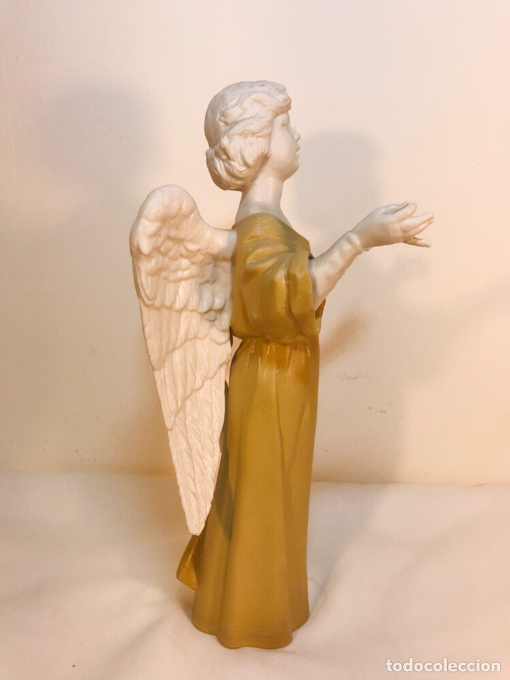 Antigüedades: Figura Porcelana-España- Algora - Angel músico director- 23 cm - Foto 25 - 177777399
