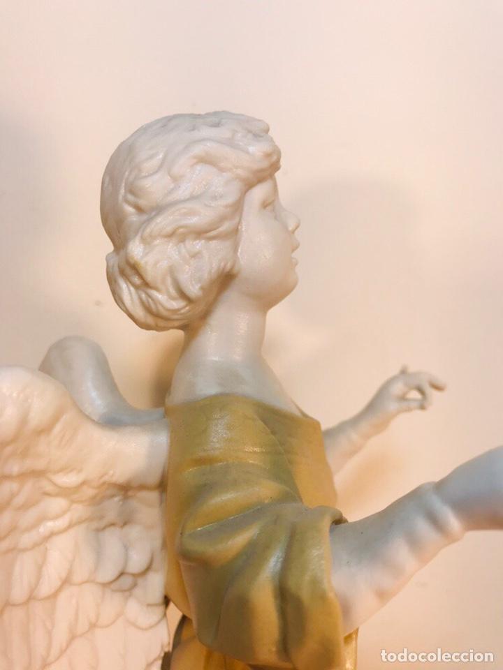 Antigüedades: Figura Porcelana-España- Algora - Angel músico director- 23 cm - Foto 26 - 177777399