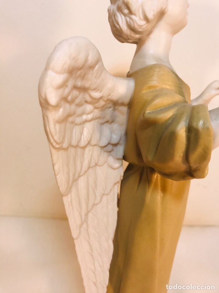 Antigüedades: Figura Porcelana-España- Algora - Angel músico director- 23 cm - Foto 27 - 177777399