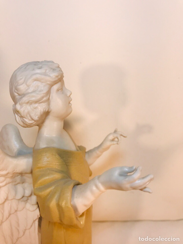 Antigüedades: Figura Porcelana-España- Algora - Angel músico director- 23 cm - Foto 28 - 177777399
