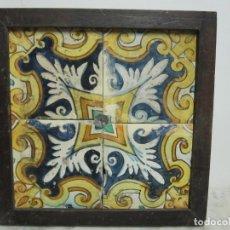Antigüedades: CUADRO DE CUATRO BALDOSAS O AZULEJOS ENMARCADAS - GOTICAS. Lote 177780190
