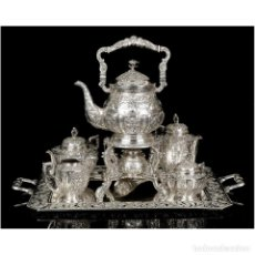 Antigüedades: ESPECTACULAR JUEGO DE CAFÉ ANTIGUO EN PLATA MACIZA. 7,5 KG. ESPAÑA, PPS. S. XX. Lote 177782590