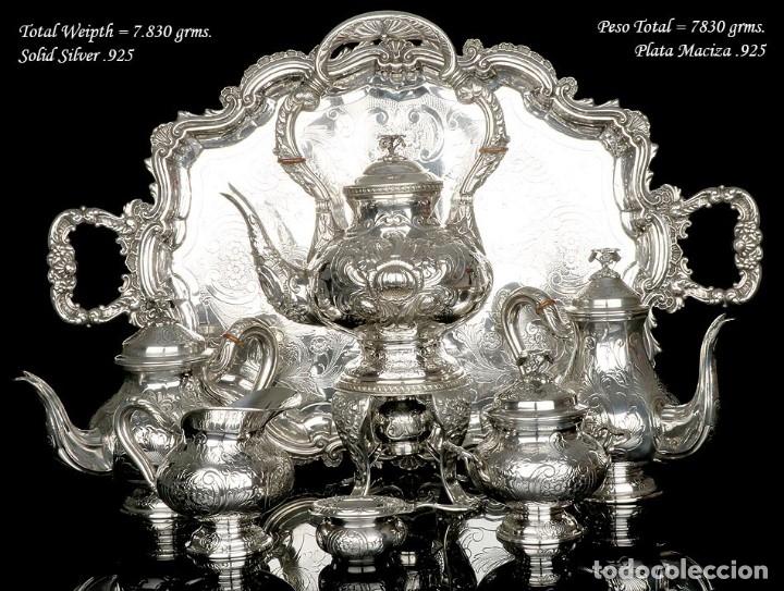 Antigüedades: Extraordinario Juego de Café Antiguo en Plata Maciza. 7,8 kilos. España, Principios Siglo XX - Foto 2 - 177785830