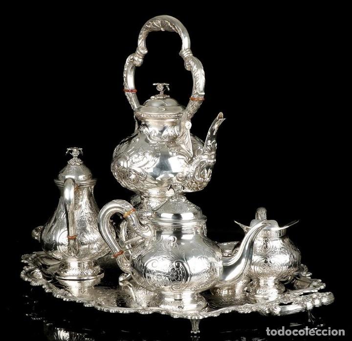Antigüedades: Extraordinario Juego de Café Antiguo en Plata Maciza. 7,8 kilos. España, Principios Siglo XX - Foto 3 - 177785830