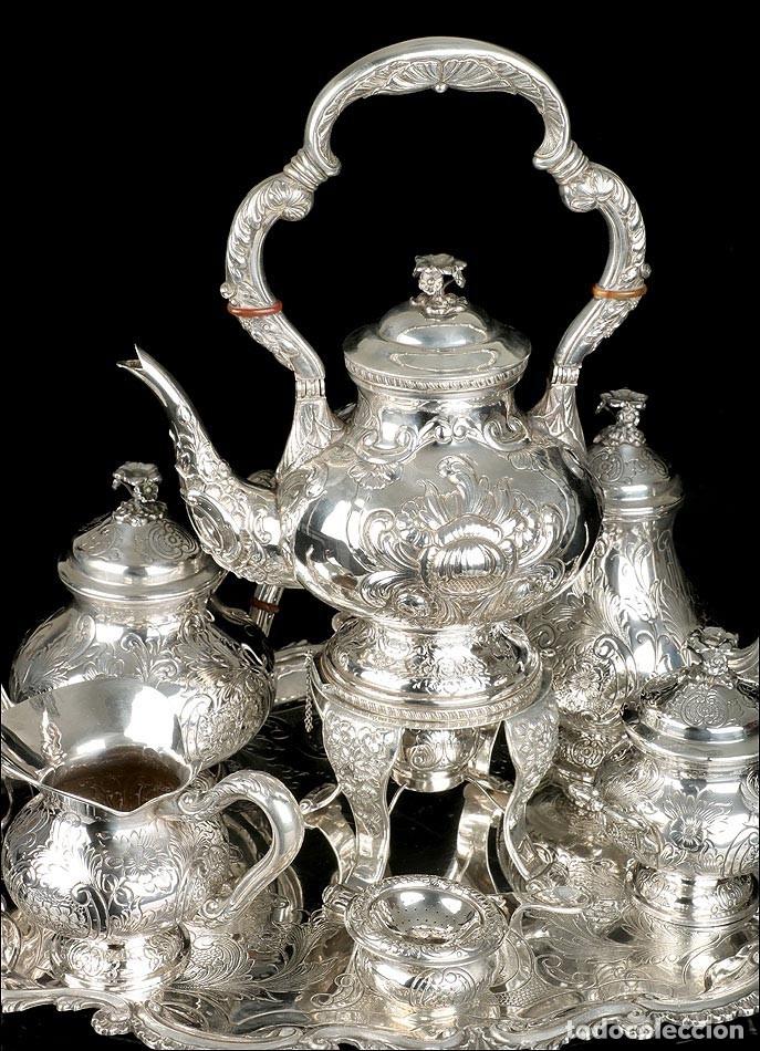 Antigüedades: Extraordinario Juego de Café Antiguo en Plata Maciza. 7,8 kilos. España, Principios Siglo XX - Foto 6 - 177785830