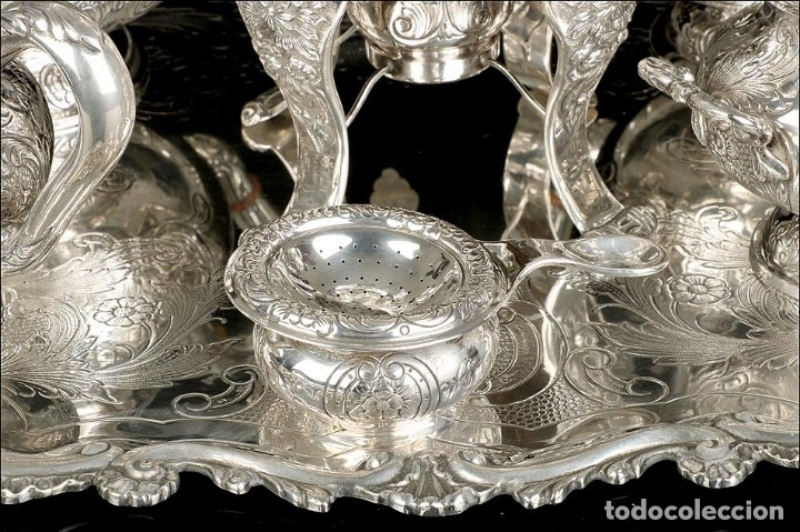 Antigüedades: Extraordinario Juego de Café Antiguo en Plata Maciza. 7,8 kilos. España, Principios Siglo XX - Foto 7 - 177785830