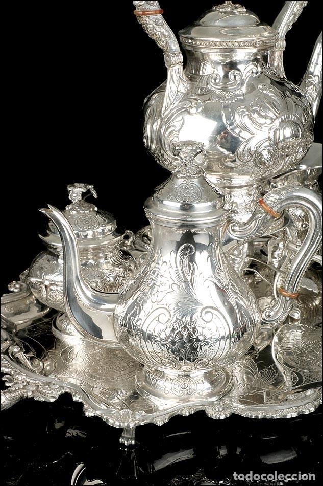 Antigüedades: Extraordinario Juego de Café Antiguo en Plata Maciza. 7,8 kilos. España, Principios Siglo XX - Foto 9 - 177785830