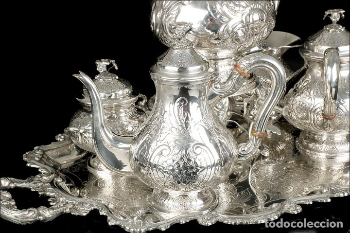 Antigüedades: Extraordinario Juego de Café Antiguo en Plata Maciza. 7,8 kilos. España, Principios Siglo XX - Foto 10 - 177785830