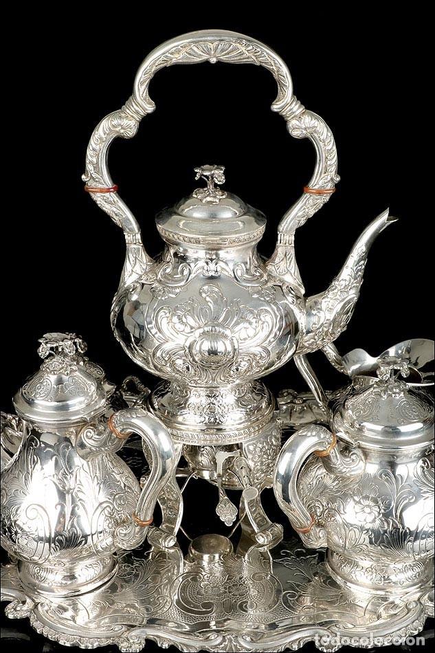 Antigüedades: Extraordinario Juego de Café Antiguo en Plata Maciza. 7,8 kilos. España, Principios Siglo XX - Foto 11 - 177785830