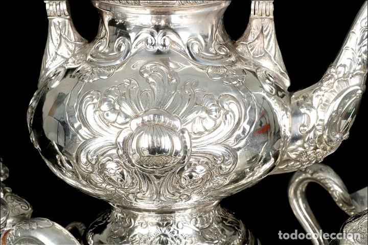Antigüedades: Extraordinario Juego de Café Antiguo en Plata Maciza. 7,8 kilos. España, Principios Siglo XX - Foto 13 - 177785830