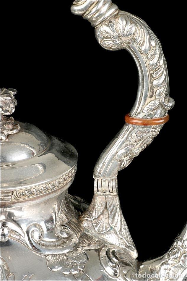 Antigüedades: Extraordinario Juego de Café Antiguo en Plata Maciza. 7,8 kilos. España, Principios Siglo XX - Foto 14 - 177785830