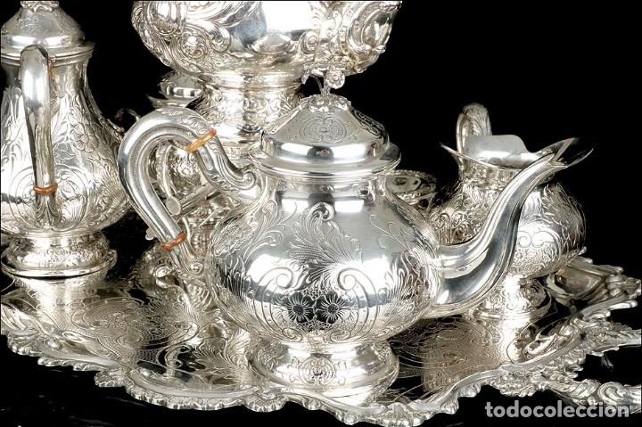 Antigüedades: Extraordinario Juego de Café Antiguo en Plata Maciza. 7,8 kilos. España, Principios Siglo XX - Foto 17 - 177785830