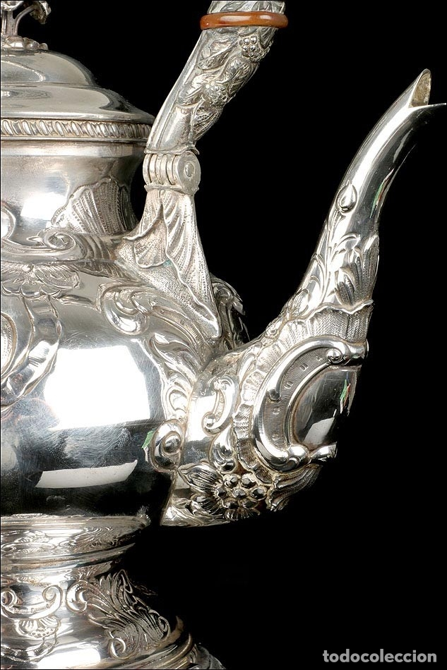 Antigüedades: Extraordinario Juego de Café Antiguo en Plata Maciza. 7,8 kilos. España, Principios Siglo XX - Foto 34 - 177785830
