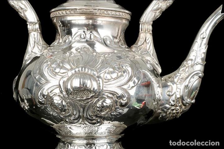 Antigüedades: Extraordinario Juego de Café Antiguo en Plata Maciza. 7,8 kilos. España, Principios Siglo XX - Foto 35 - 177785830