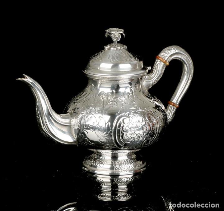 Antigüedades: Extraordinario Juego de Café Antiguo en Plata Maciza. 7,8 kilos. España, Principios Siglo XX - Foto 52 - 177785830