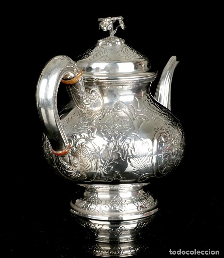 Antigüedades: Extraordinario Juego de Café Antiguo en Plata Maciza. 7,8 kilos. España, Principios Siglo XX - Foto 54 - 177785830