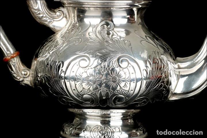 Antigüedades: Extraordinario Juego de Café Antiguo en Plata Maciza. 7,8 kilos. España, Principios Siglo XX - Foto 55 - 177785830