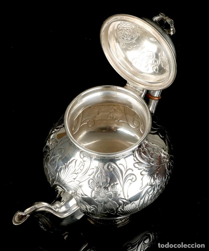 Antigüedades: Extraordinario Juego de Café Antiguo en Plata Maciza. 7,8 kilos. España, Principios Siglo XX - Foto 58 - 177785830