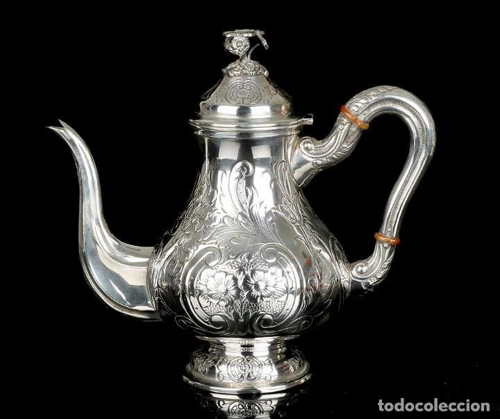 Antigüedades: Extraordinario Juego de Café Antiguo en Plata Maciza. 7,8 kilos. España, Principios Siglo XX - Foto 61 - 177785830