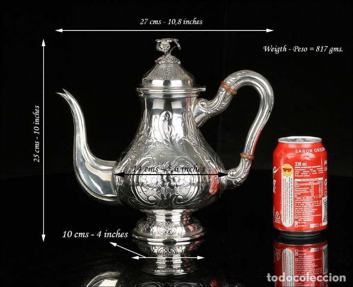 Antigüedades: Extraordinario Juego de Café Antiguo en Plata Maciza. 7,8 kilos. España, Principios Siglo XX - Foto 62 - 177785830
