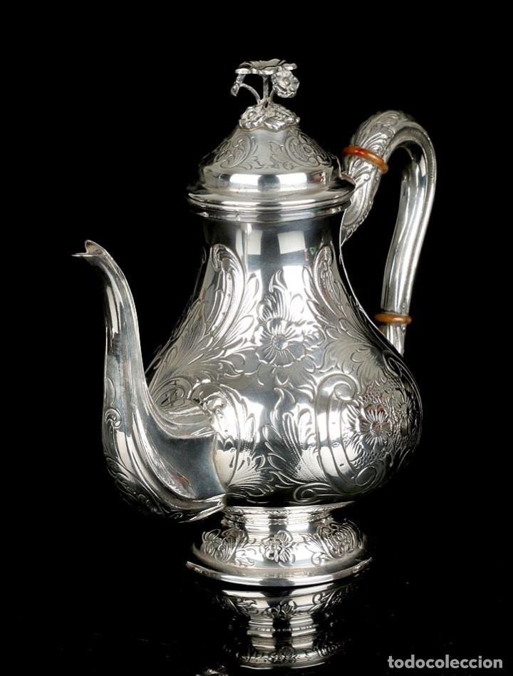 Antigüedades: Extraordinario Juego de Café Antiguo en Plata Maciza. 7,8 kilos. España, Principios Siglo XX - Foto 63 - 177785830