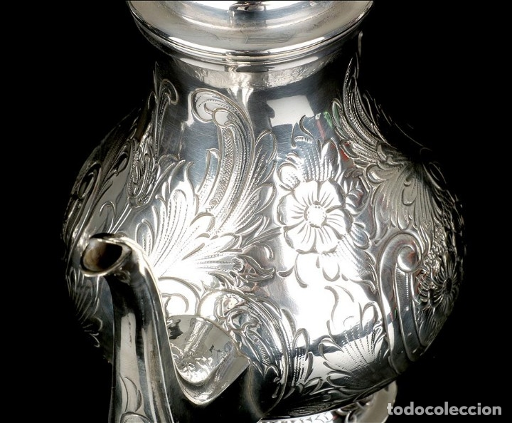 Antigüedades: Extraordinario Juego de Café Antiguo en Plata Maciza. 7,8 kilos. España, Principios Siglo XX - Foto 64 - 177785830