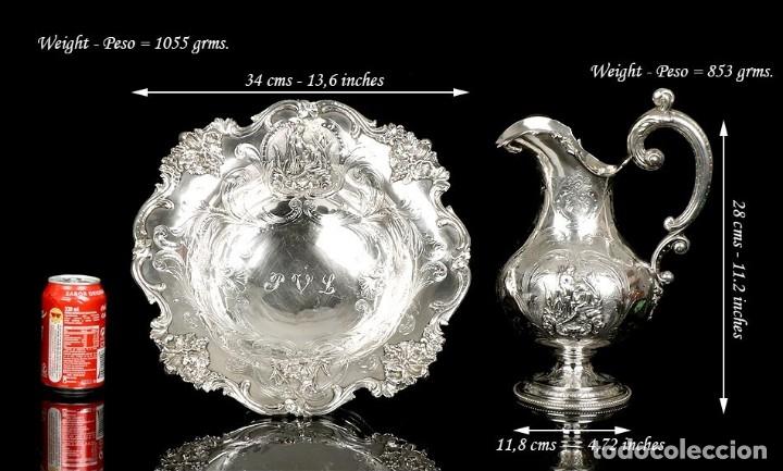 Antigüedades: Antiguo Aguamanil y Jofaina en Plata Maciza. Emile Hugo. Francia, Circa 1870 - Foto 3 - 177786040