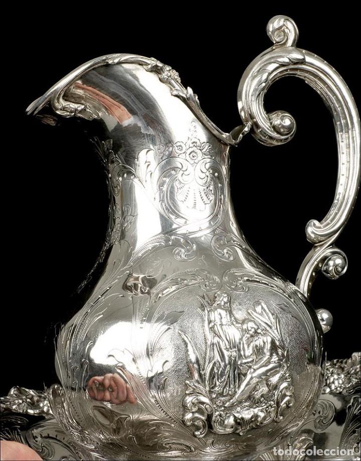 Antigüedades: Antiguo Aguamanil y Jofaina en Plata Maciza. Emile Hugo. Francia, Circa 1870 - Foto 11 - 177786040