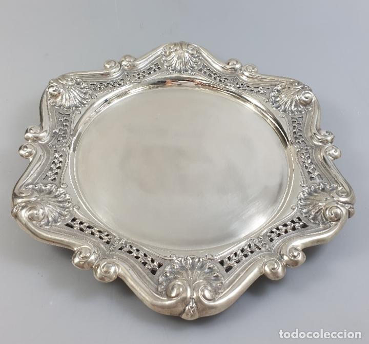 Antigüedades: bandeja en plata ley marcado con contraste XIX - Foto 2 - 177790047