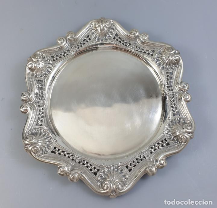 Antigüedades: bandeja en plata ley marcado con contraste XIX - Foto 3 - 177790047