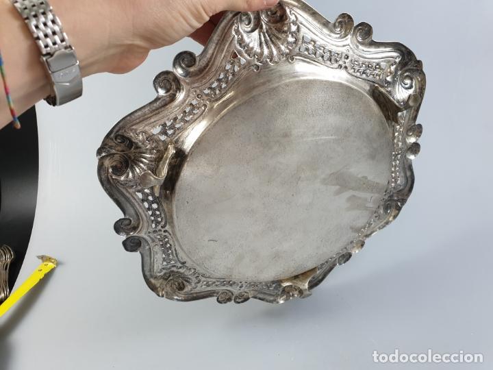 Antigüedades: bandeja en plata ley marcado con contraste XIX - Foto 4 - 177790047