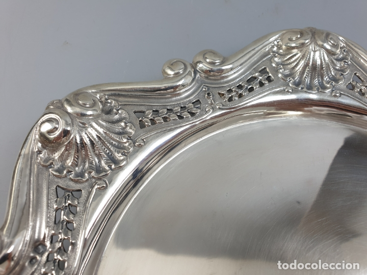 Antigüedades: bandeja en plata ley marcado con contraste XIX - Foto 5 - 177790047