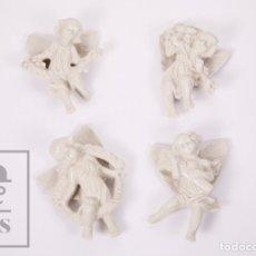 Antigüedades: CONJUNTO DE 4 FIGURAS / ÁNGELES DE PORCELANA VIDRIADA - MEDIDAS 9,5 X 4 X 14 CM. Lote 177798029