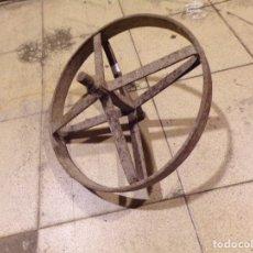 Antigüedades: ANTIGUA RUEDA DE HIERRO FORJADO . Lote 177815238