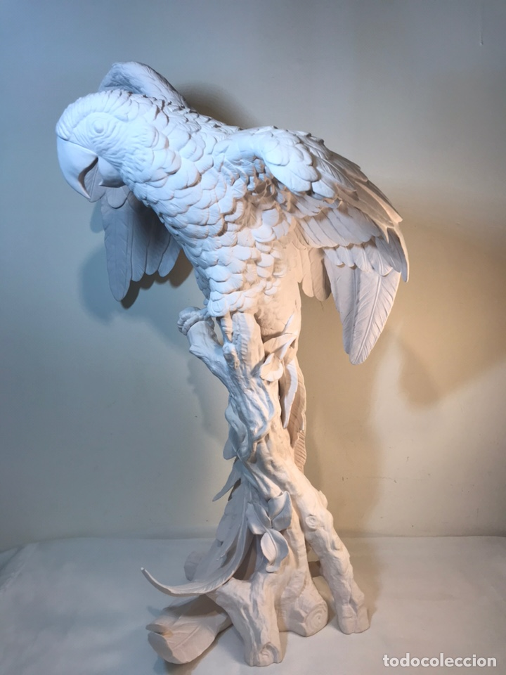 Antigüedades: Figura Porcelana Biscuit- España- Algora- Guacamayo- 55 cm (Loro Papagayo) - Foto 12 - 177817077