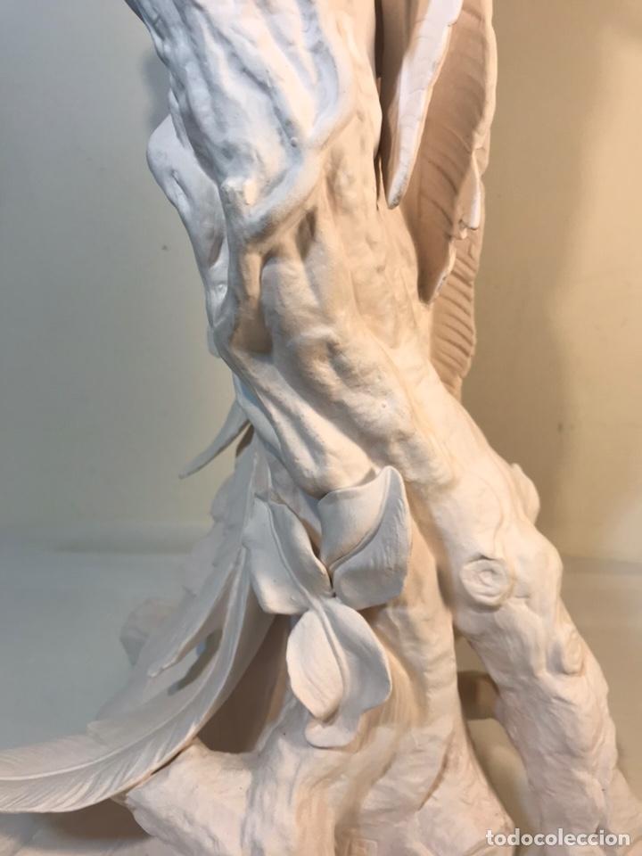 Antigüedades: Figura Porcelana Biscuit- España- Algora- Guacamayo- 55 cm (Loro Papagayo) - Foto 16 - 177817077