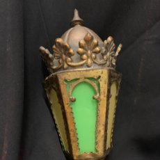 Antigüedades: EXCEPCIONAL FAROLILLO ANTIGUO EN BRONCE Y LATON, IDEAL PARA IMAGEN RELIGIOSA O CAPILLA. Lote 177824150